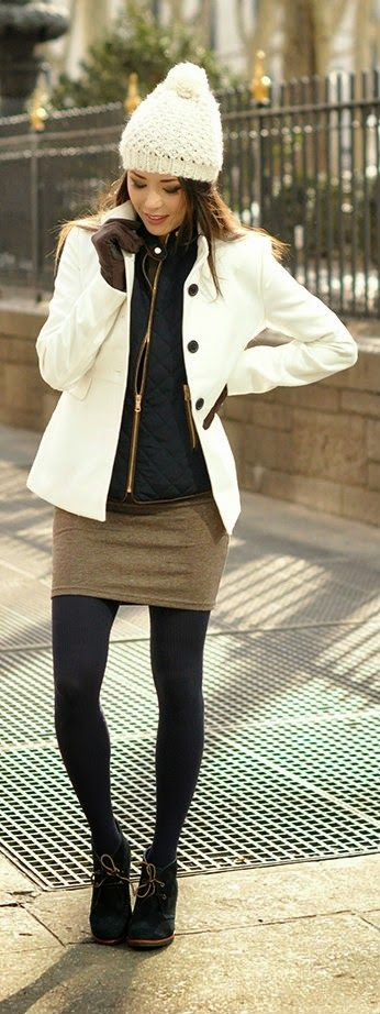 Sperry Casual - Old Navy beanie and coat, Zara vest, HUE tights, Sperry booties / Hapa Time