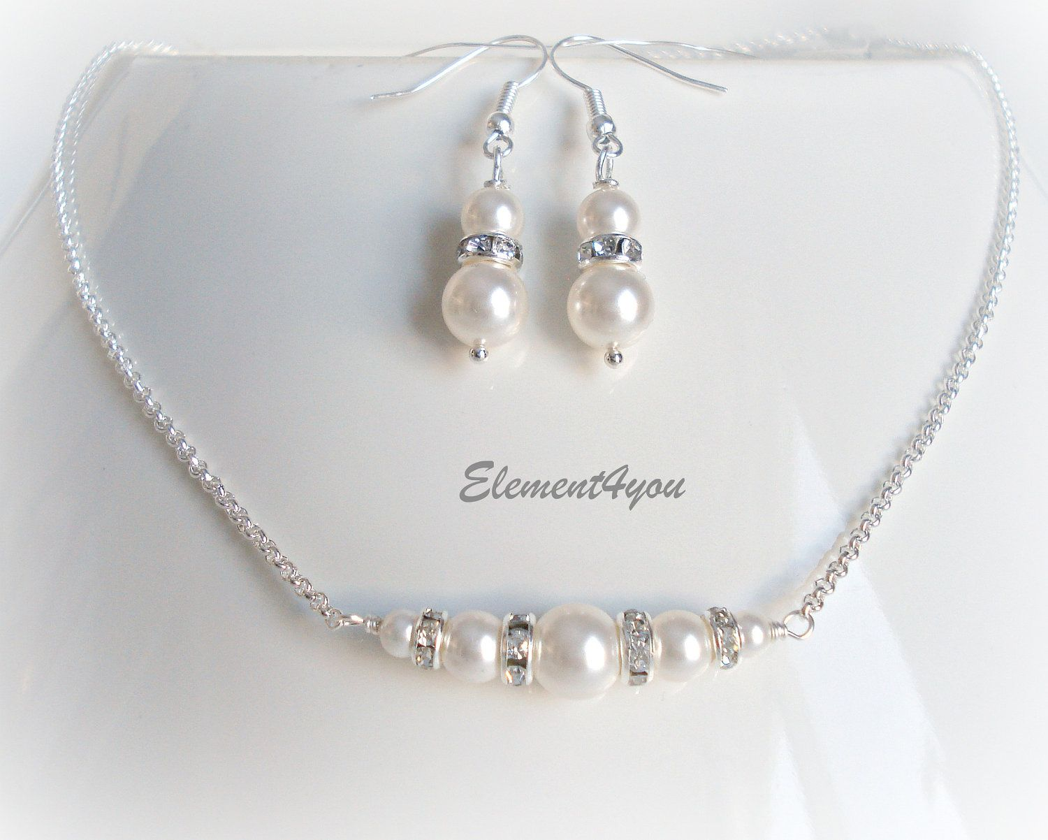Bridesmaid Jewelry, Wedding Jewellery, Necklace Earrings set, Silver Chain, Delicate set, Swarovski pearls, Bridal Party Gift, Simple.