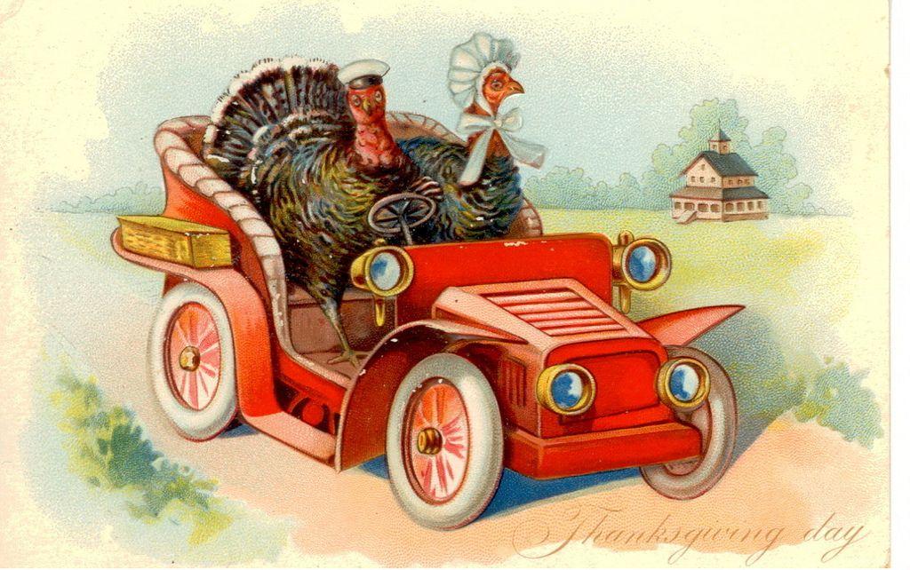 Vintage Thanksgiving Postcard Turkey In A Car