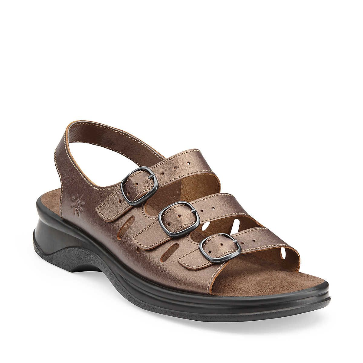Sunbeat in Bronze Leather - Womens Sandals from Clarks i have flat feet and fallen arches and these are the most comfortable sandals ever and all leather so soft i never get any blisters either due to my super sensitive feet.