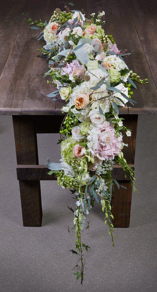 How To Make A Fresh Flower Cascading Table Runner Garland Table Flower Arrangements Floral Table Runner Table Flowers
