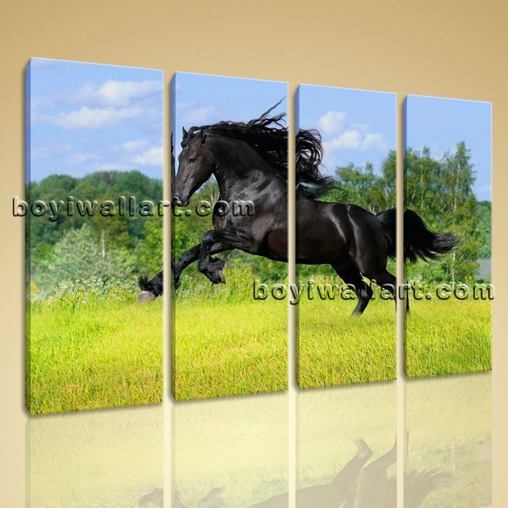 Large Wall Art HD Print On Canvas Running Horse Picture Contemporary ...