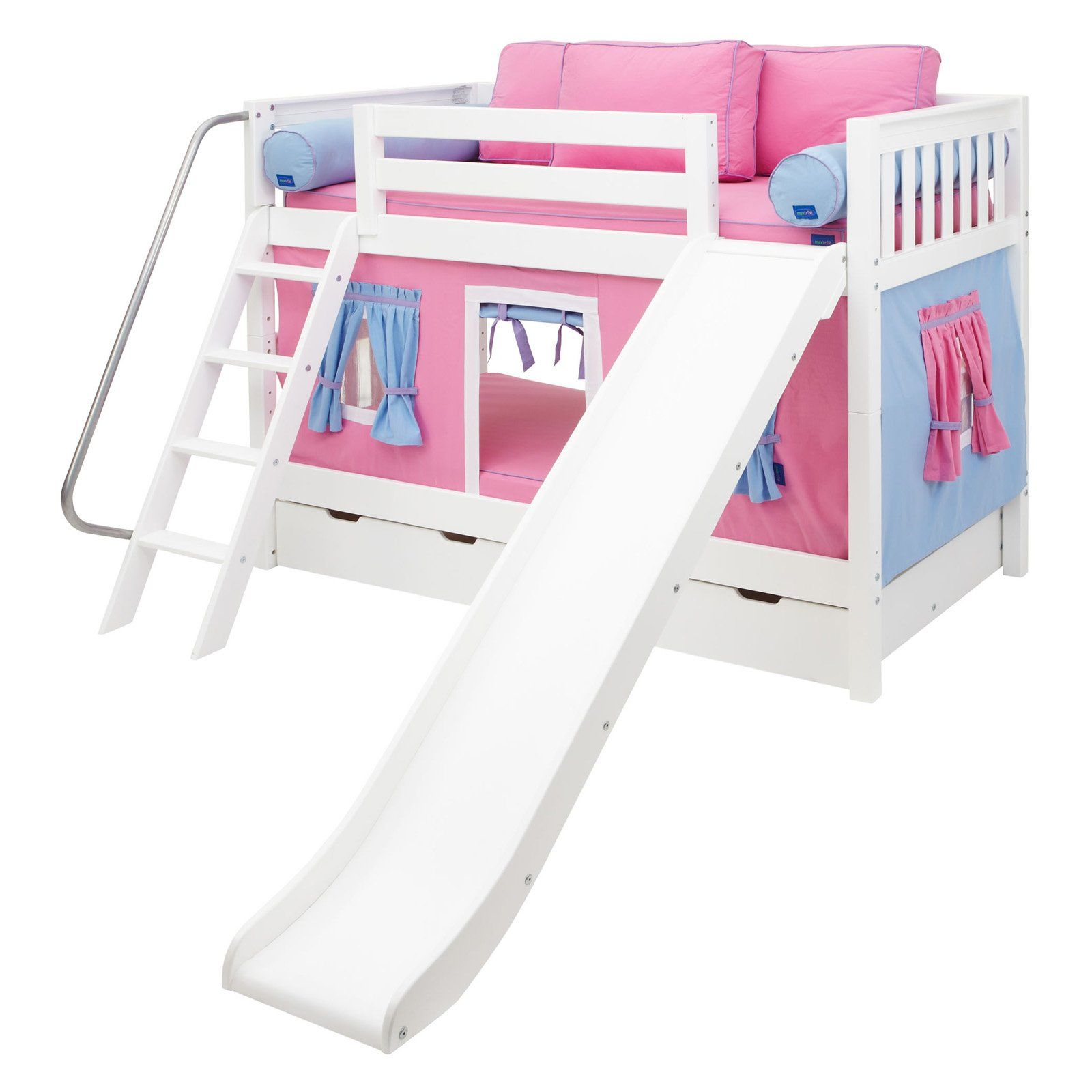 Laugh Girl Twin Over Twin Slat Slide Tent Bunk Bed Twin Over Twin