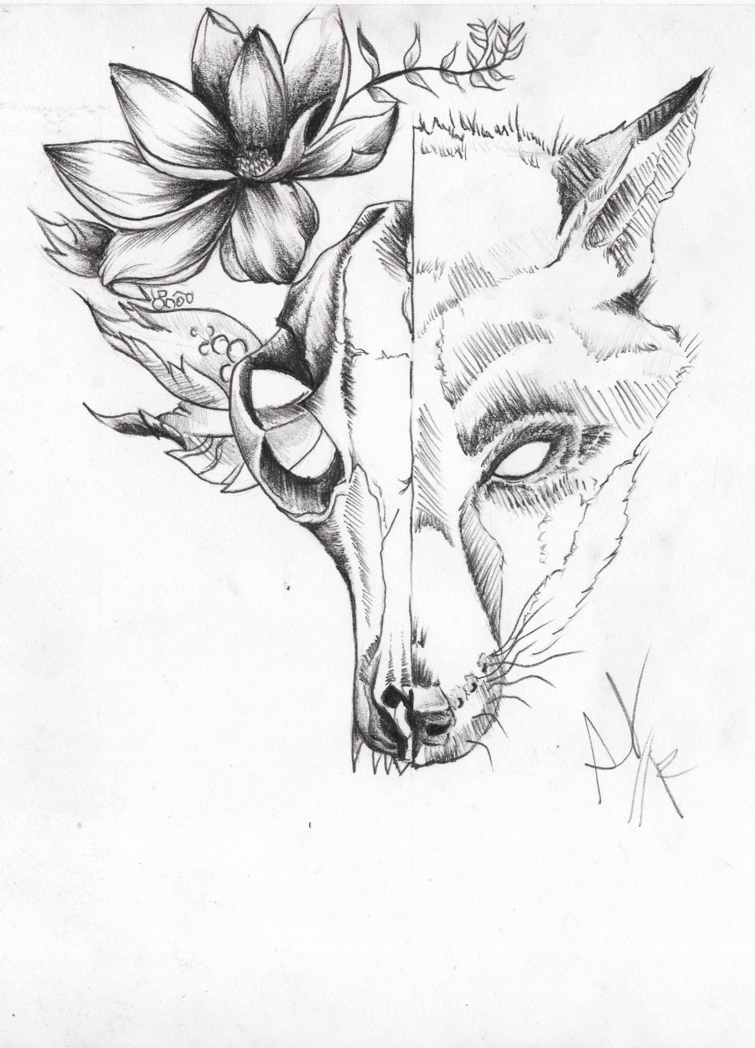 calavera de zorro tattoo diseño en 2019