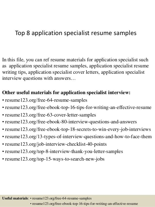 top application specialist resume samplesin this file you can ref - application specialist sample resume
