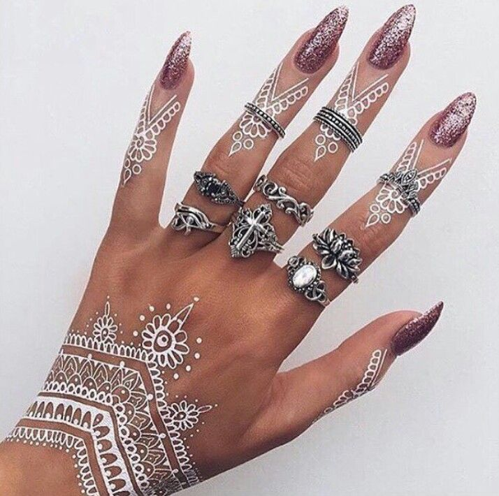 White Mehndi Outfits : White henna animal tattoos pinterest