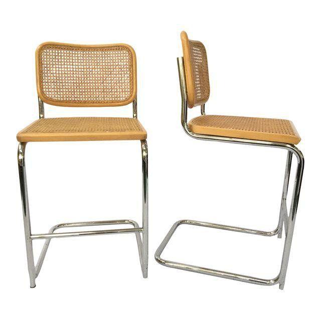 Pair of Cesco Marcel Breuer Style Chrome  Cane Barstools Seating