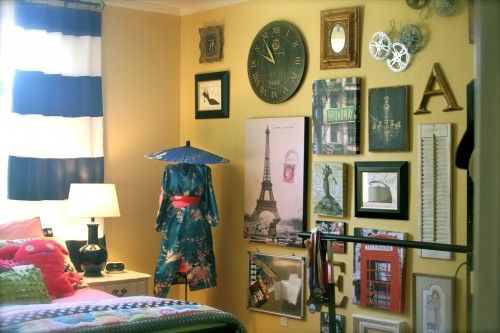 In This Space An 11 Year Old S Bedroom A Japanese Kimono And Umbrella Add To The Room S Well Traveled Lo Travel Themed Bedroom Travel Themed Room Travel Room