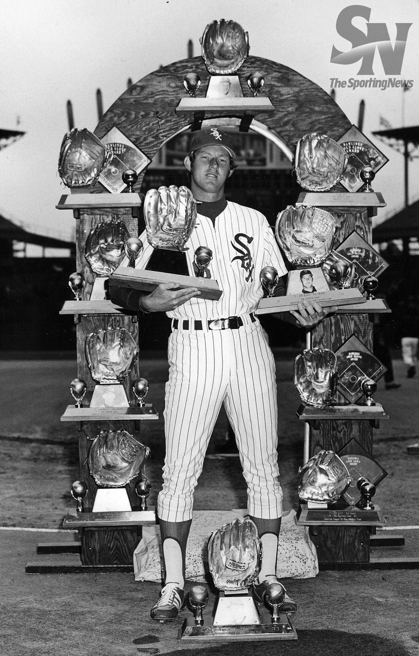 Chicago White Sox Jim Kaat with his golden glove awards