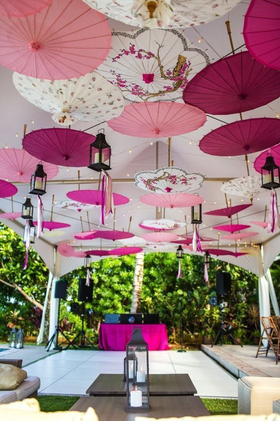 Beautiful Wedding Decoration Idea Using Colorful Parasols