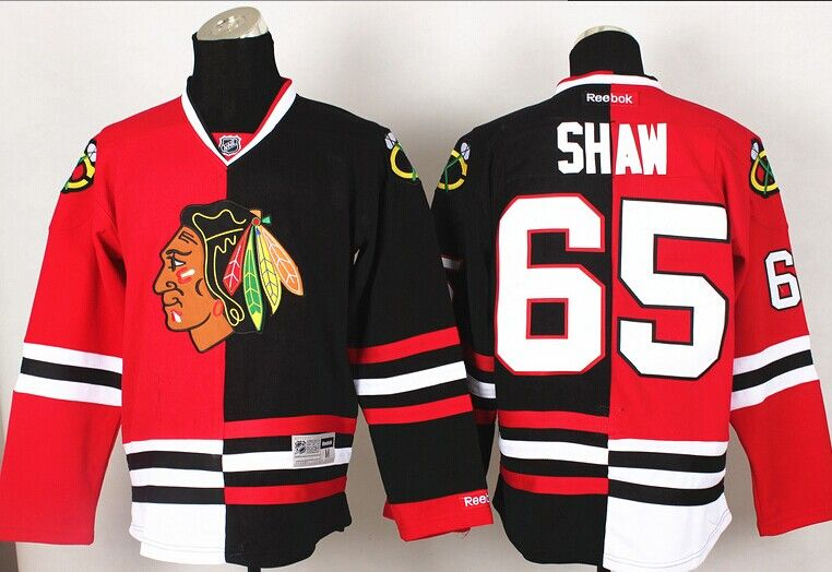 Surprising your brother With this Blackhawks #65 Shaw Red And Black Split  Fashion Hockey Jersey