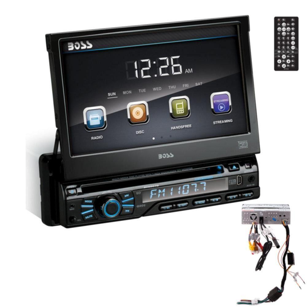 Single Din 7 Motorized Touchscreen Monitor, DVD-MP3-CD AM-FM Receiver Bluetooth