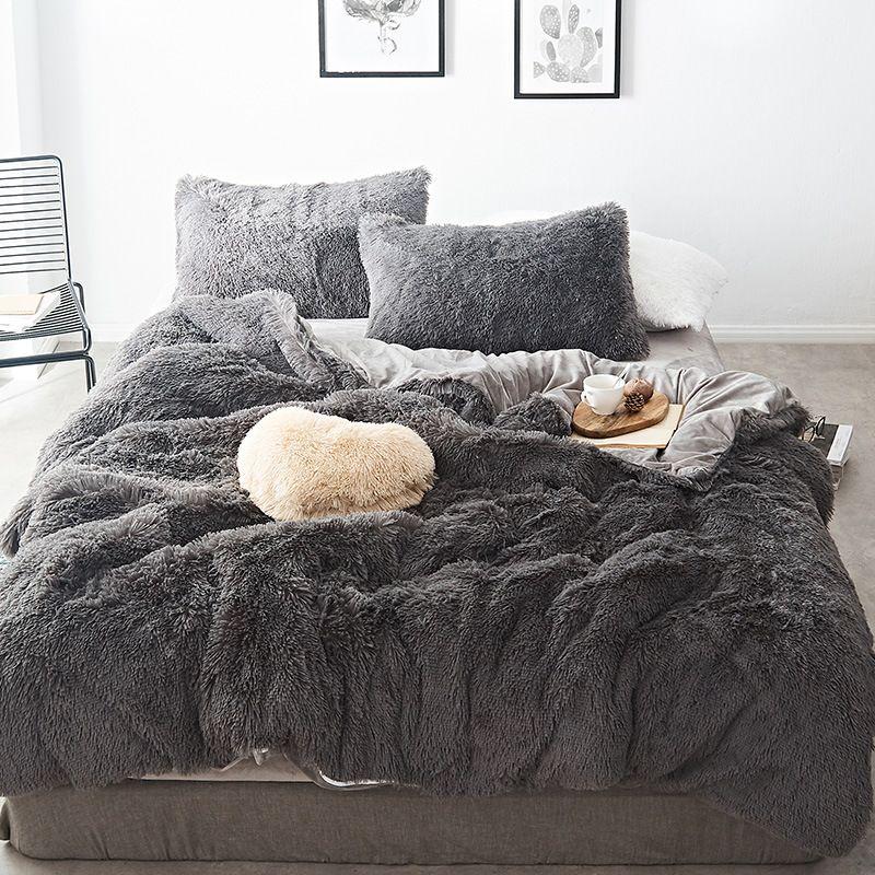 Hot Sale 4pcs Luxury Mink Velvet Bedding Set Winter Soft Quilt Cover Bed Sheet Pillowcase Online Newchic Gray Bed Set Bed Linens Luxury Velvet Bedding Sets