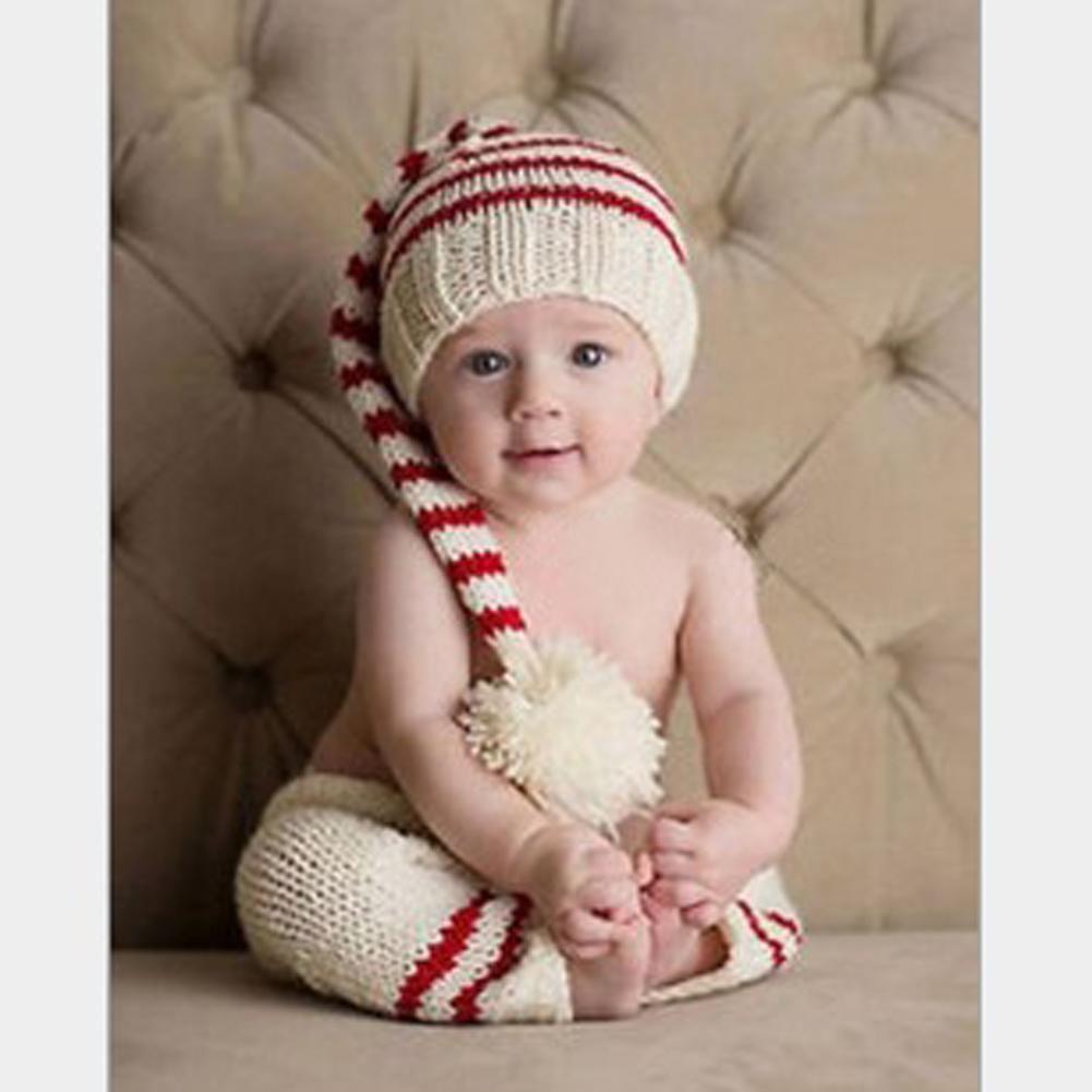 Newborn Photography Props Baby Striped Hat + Pants Infant Crochet ...