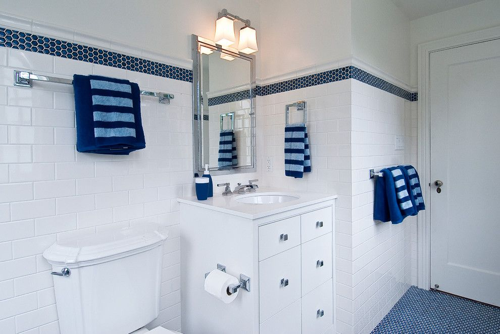 Gray Bathroom With Blue Accents Bathroom Traditional With Walk In