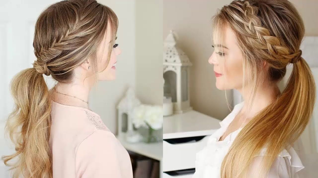 Seriously Cute Hairstyle Using Ponytail Images Updos And Braids Hairstyle Braided Ponytail Hairstyles Ponytail Hairstyles Medium Hair Styles