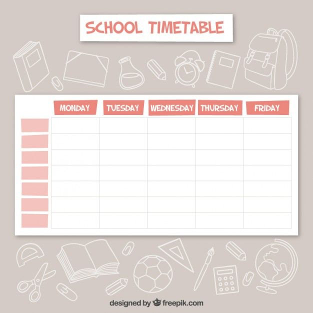 Calendrio Escolar Elegante  School Timetable Elegant And School