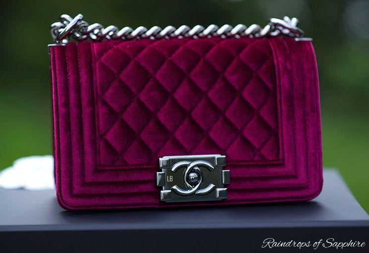 2f1dcd10fdd5 Chanel Small Boy Bag in Velvet Bordeaux/Burgundy color, SIlver Hardware