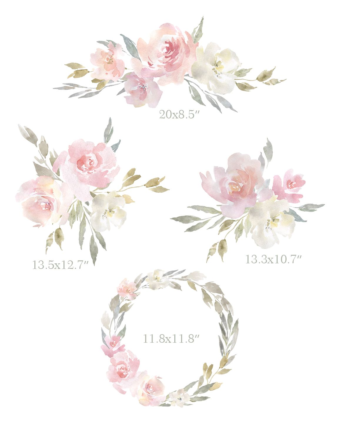 Blush Pink Watercolor Flowers Bouquets Wreath Png In 2020 Pink