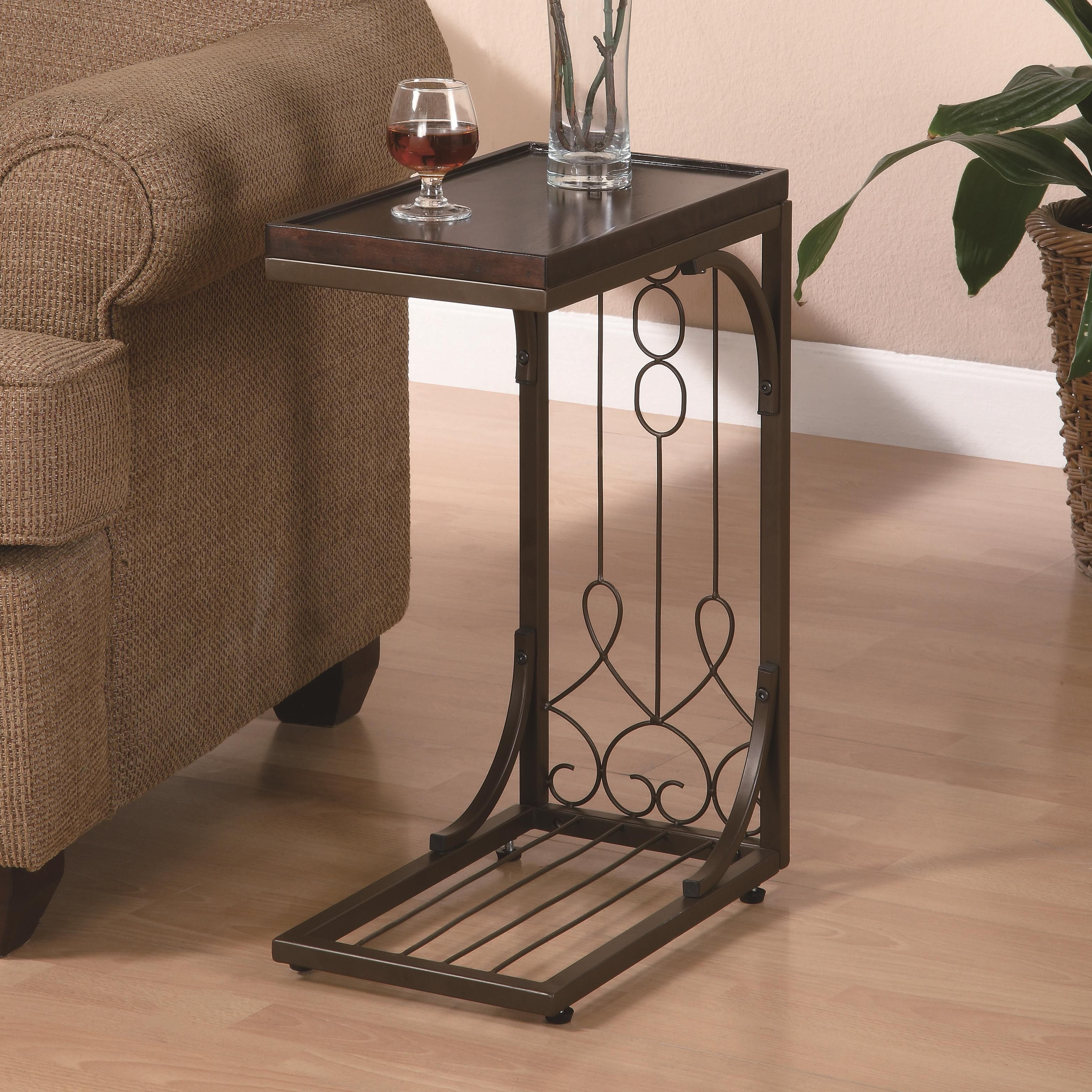 Accent Tables Small Brown Snack Table With Burnished Cooper Base