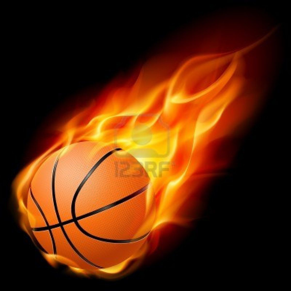 Flying Basketball On Fire Illustration On Black Background Basketball Locker Decorations Basketball Tattoos Basketball