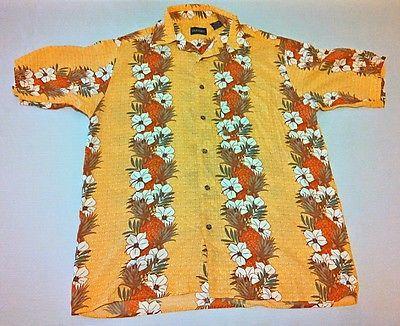 HUGE LABOR DAY SALE!  Puritan Men's Short Sleeve Floral Hawaiian Shirt Gold Size Medium M Rayon #130
