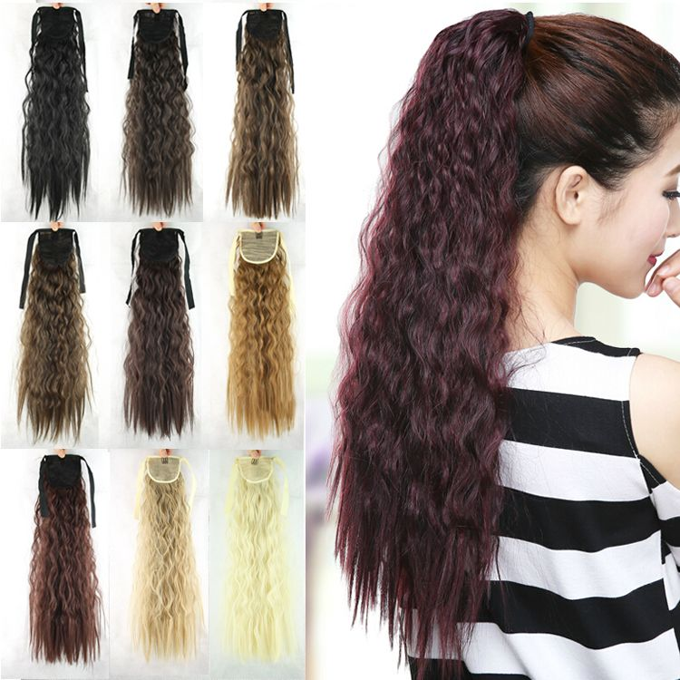 Find More Ponytails Information About New Style 55cm Women Long Synthetic Ponytail Curly Drawstring