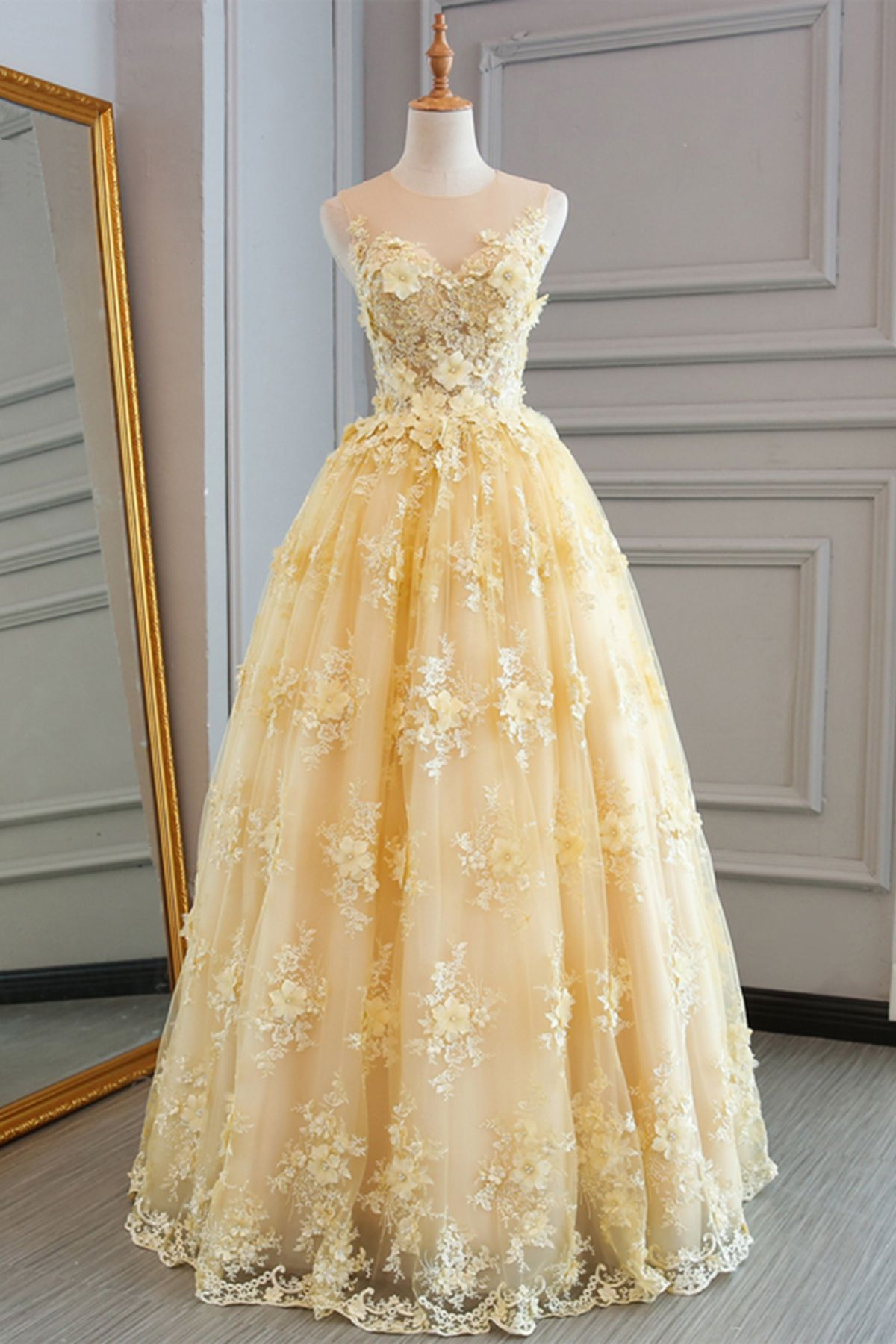 Yellow prom dresseslace prom dressescustomize prom dresslong prom