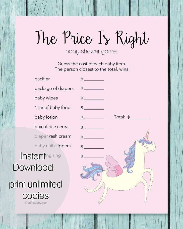 The Price Is Right Baby Shower Game Pink Unicorn Theme Baby