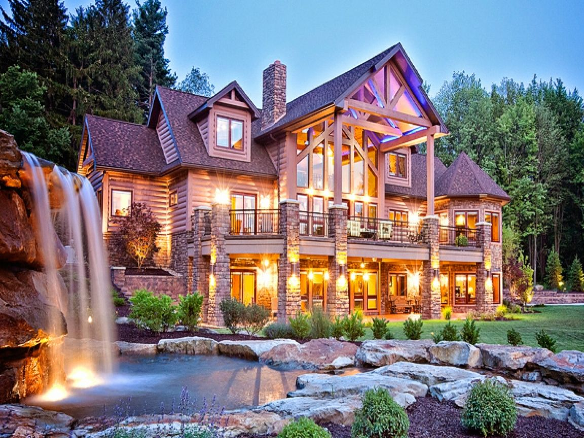 Biggest luxury log mansions cabin related