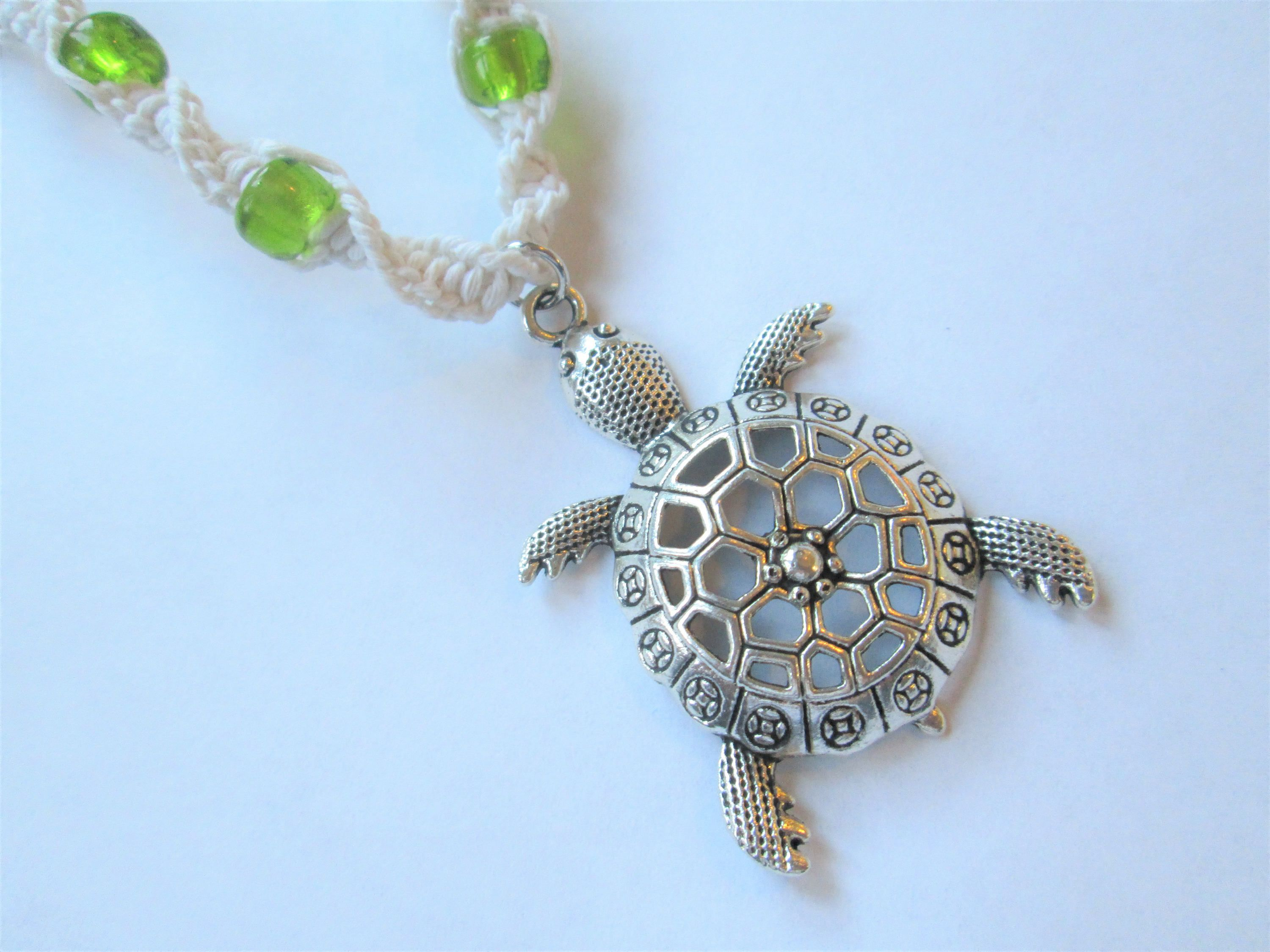 Turtle silver turtle charm and green glass beads on handmade turtle silver turtle charm and green glass beads on handmade hemp necklace boho charm mozeypictures