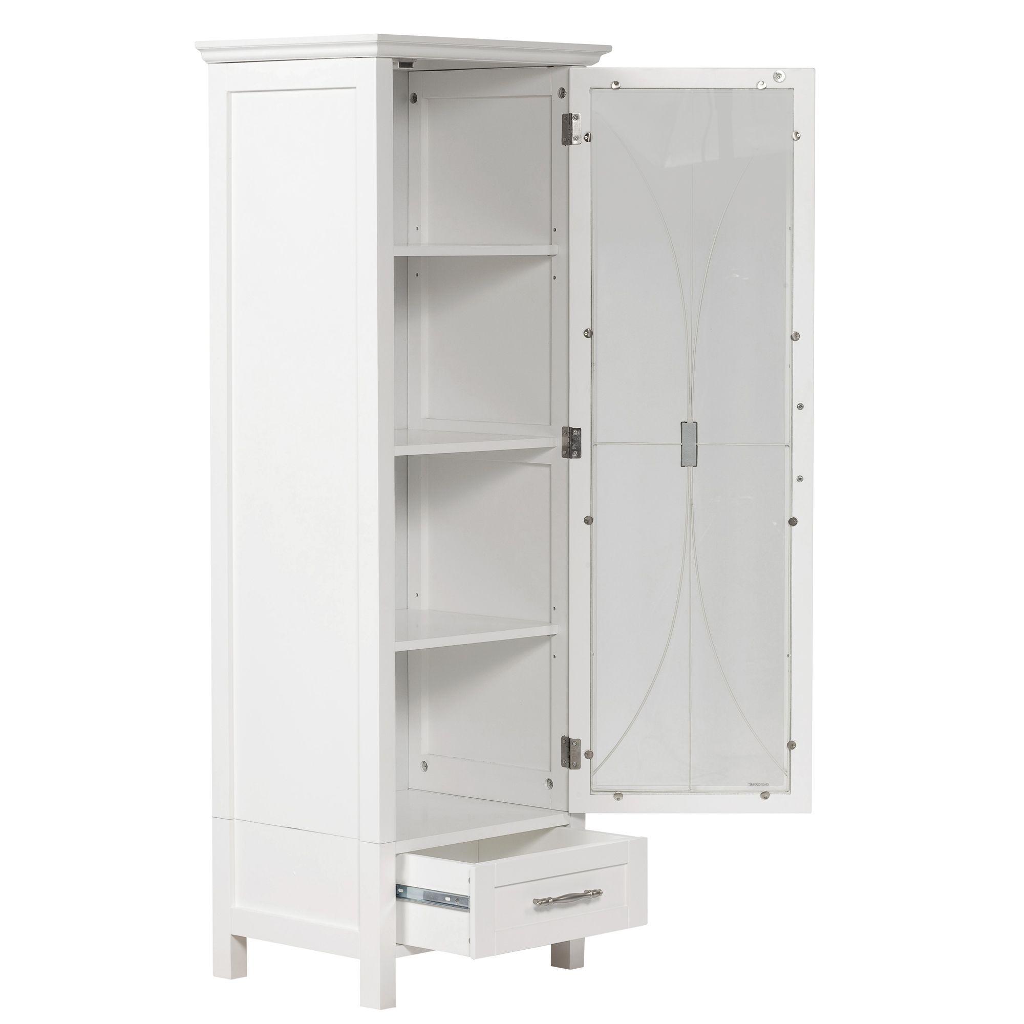 White Floor Standing Bathroom Storage Cabinet Unit Linen Storage
