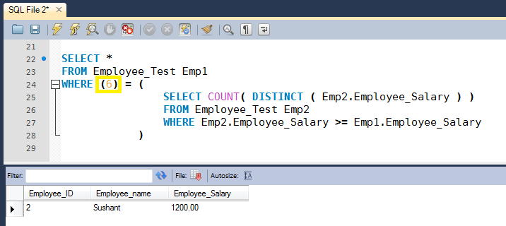 Sql Query To Find Nth Highest Salary Of Employee Sql Salary