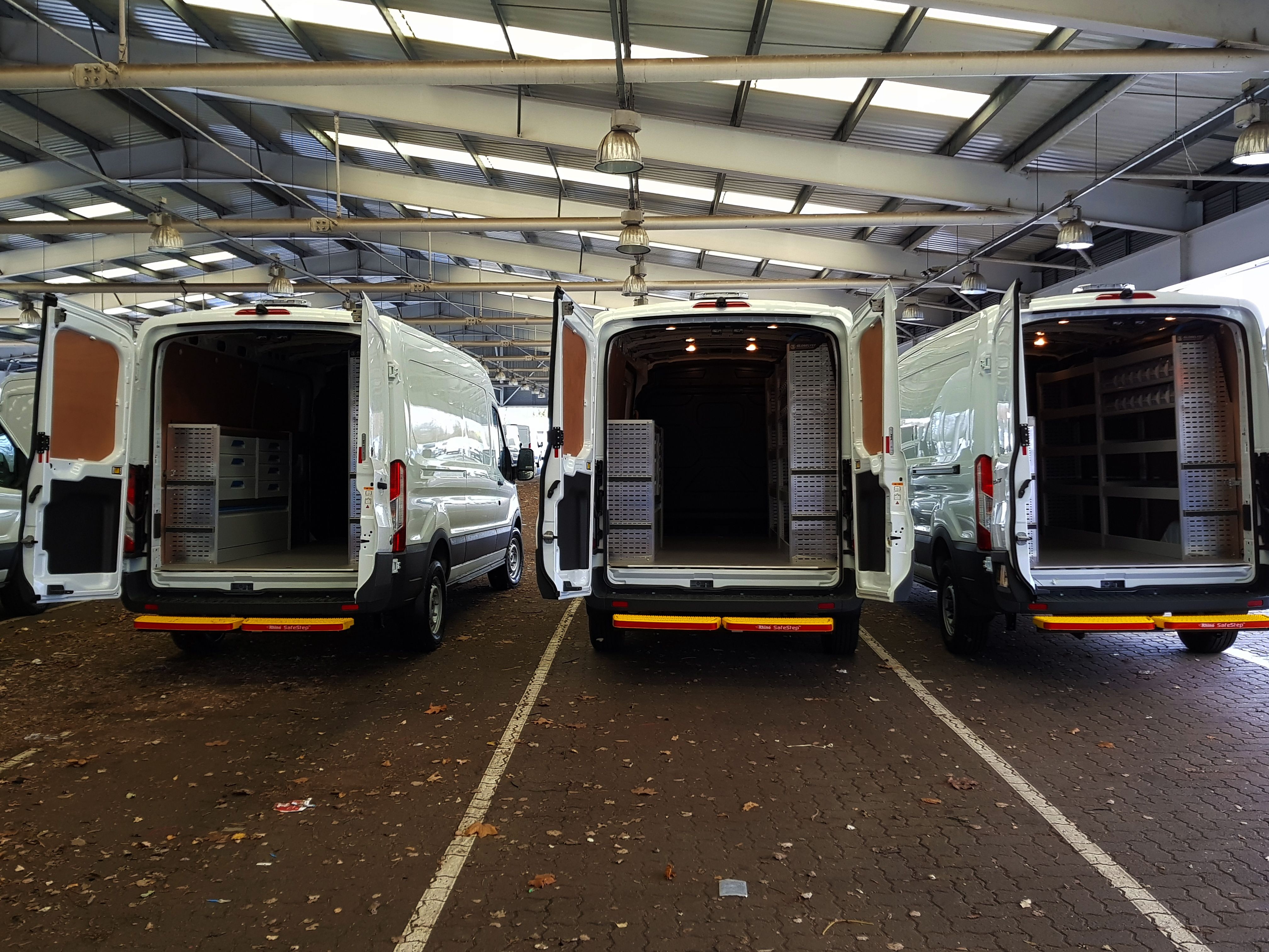 Fleet Of Lwb Ford Transit S Fitted With Sortimo Racking A Rhino Safety Step And An External Light Rhino Safetystep Ford Transit Van Life External Lighting