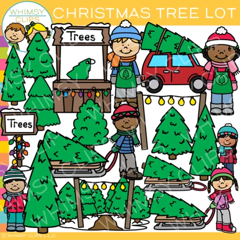 Christmas Tree Lot Clip Art Images Illustrations Art Bundle Christmas Tree Lots Clip Art