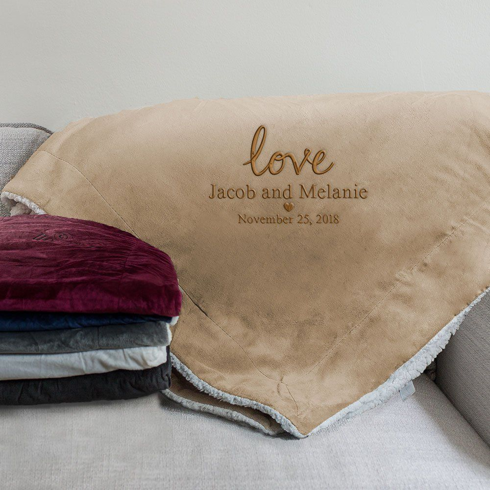 Embroidered Love Sherpa Personalized Couple Gifts