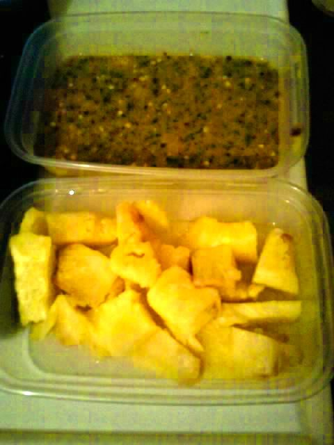 Pineapple salad with palm sugar, tamarind sweet sour chilli sauce, a.k.a rujak nanas