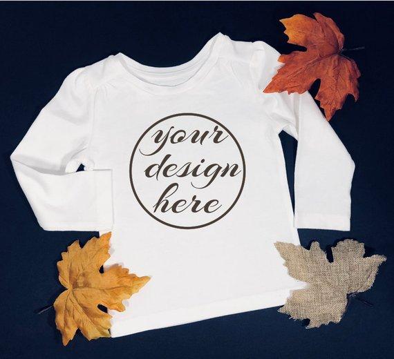 358fef156 Blank White Long Sleeve Shirt Mockup / Mockup / Kid's / Children's Mockups  / Fall Mockup / Styled s