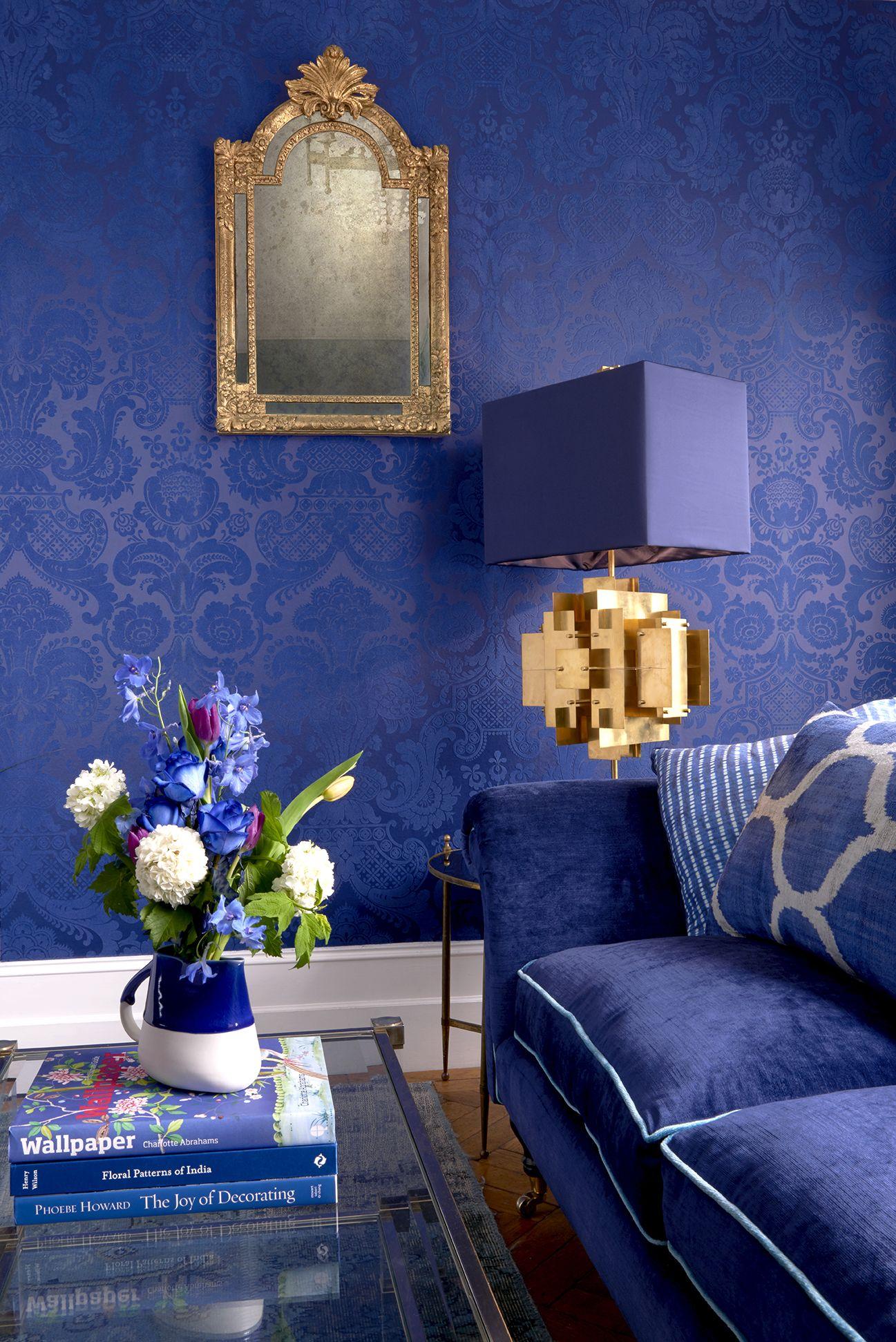 Wanders blue wanders forest flocked wallpaper damask wallpaper - Mariinsky Petrouchka Flock Wallpaper In Five Colour Ways Pictured Here In Indigo Blue