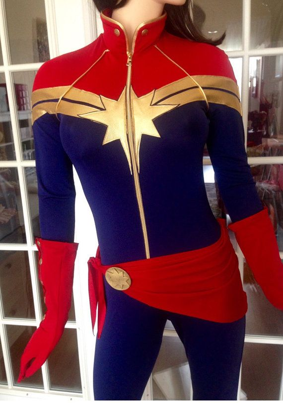 Captain Marvel Superhero Costume Cosplaycustom Made Etsy Marvel Costumes Captain Marvel Costume Super Hero Costumes And she certainly has the look and the costume to compete with other heavy hitters. captain marvel superhero costume