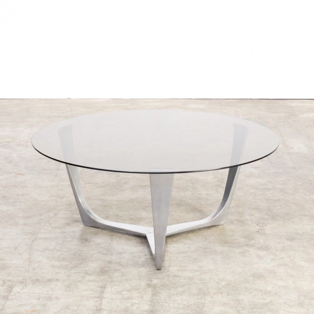 For sale: Full aluminium frame coffee table with smoked ...