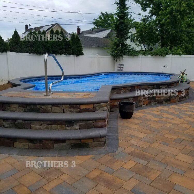Semi Inground Brothers 3 Pools In 2020 Pools Backyard Inground Pool Patio Designs Swimming Pools Backyard