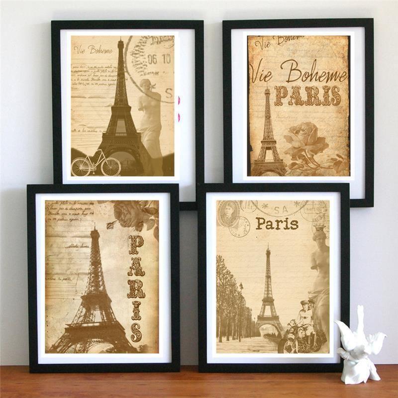 4 PARIS eiffel tower Vintage modern Poster Art Print wall decor room ...