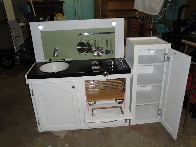 Perfect Finished Kids Play Kitchen From Old Cabinets And Other ReStore Finds.