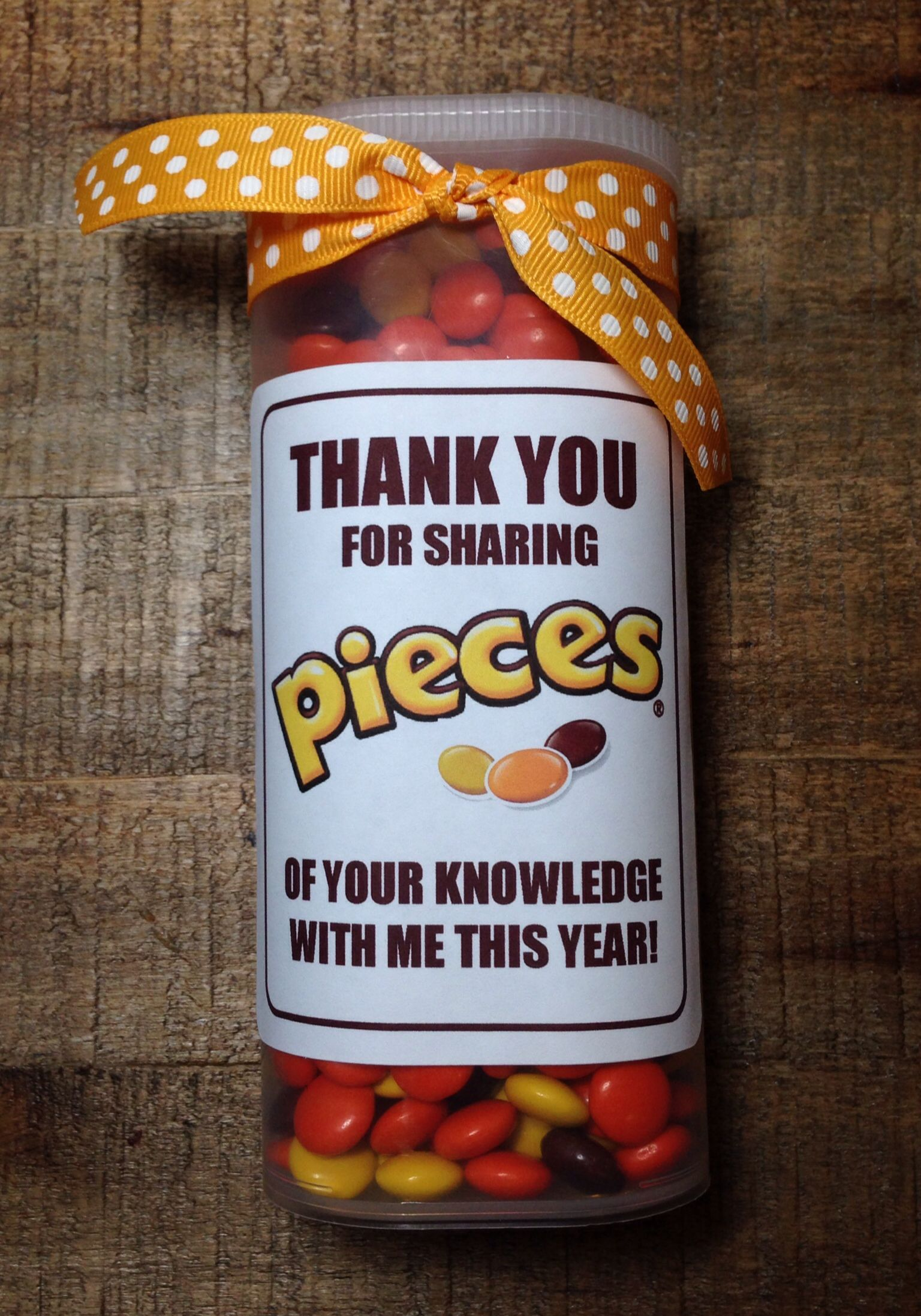 picture regarding Thank You for Sharing Pieces of Your Knowledge With Me Printable identified as Instructor Appreciation Present - Reeses Parts inside a Crystal