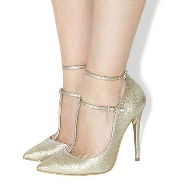 Office Topical Multi Strap T-bar Point Courts Gold Glitter - High Heels