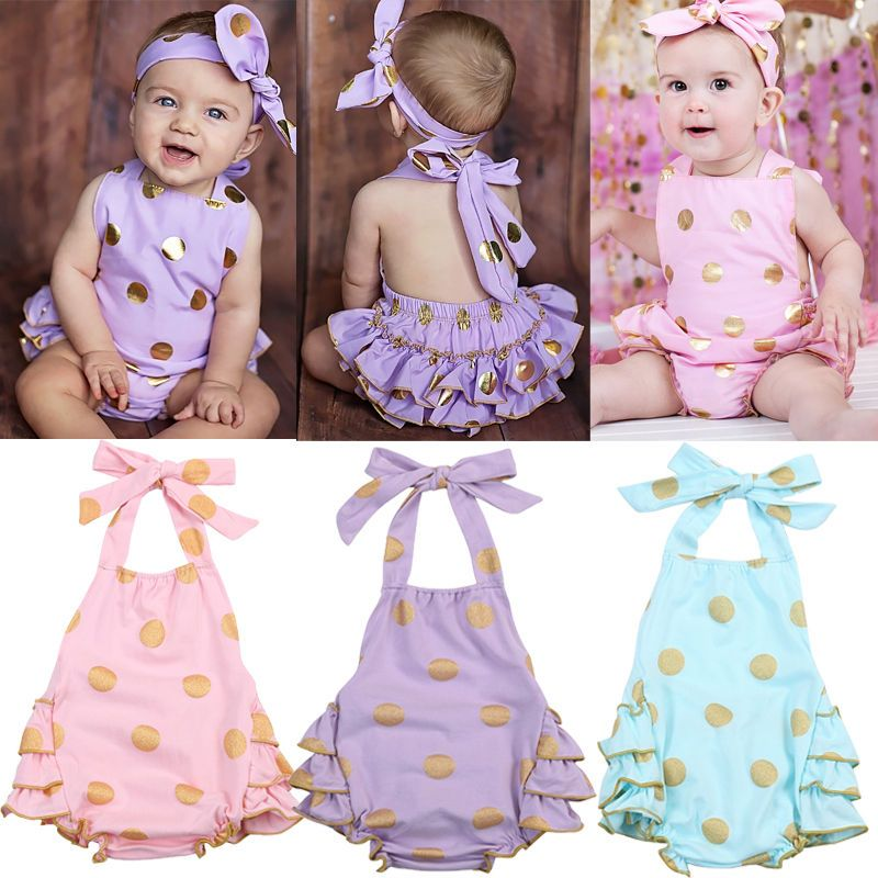 cd7b1f36f9ee Baby Girl Bodysuit Romper Jumpsuit Playsuit Polka Dot Backless Sunsuit  Outfits  Unbrand  Everyday