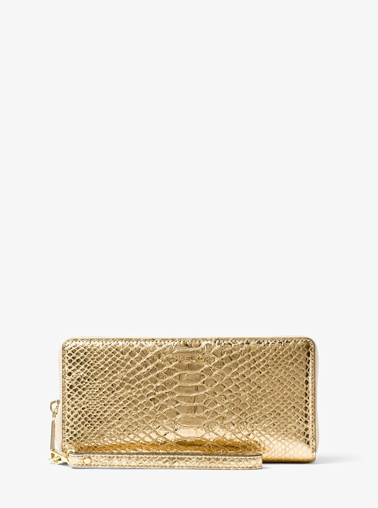 6694f5f6d2a6a4 Michael Kors Jet Set Travel Metallic Snake-Embossed-Leather Continental  Wristlet - Gold