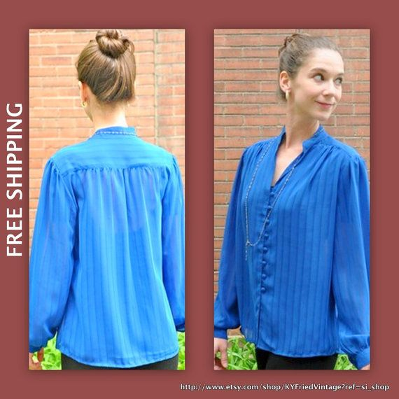 Vintage 70s Blouse Tunic Top Shirt Secretary by BluegrassVoodoo, $28.00