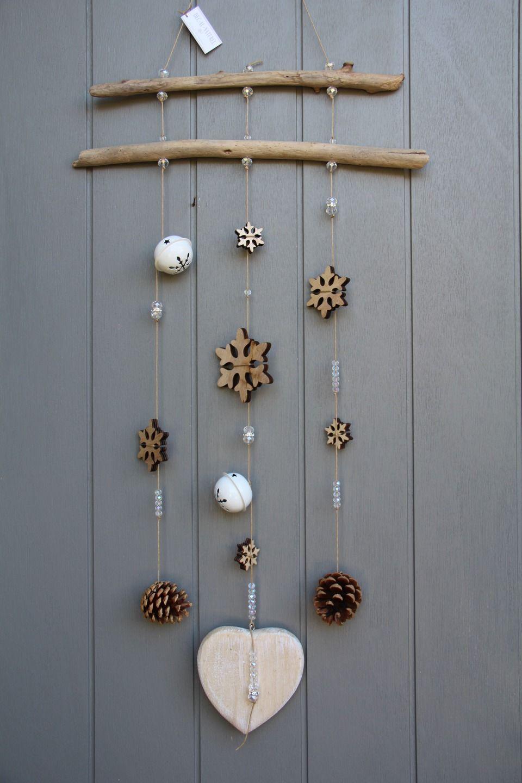 Mobile esprit hiver avec bois flott s toiles de neige en for Bois flotte mobile